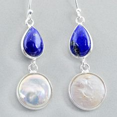 13.54cts natural white pearl lapis lazuli 925 silver dangle earrings t37243