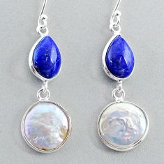 14.12cts natural white pearl lapis lazuli 925 silver dangle earrings t37246