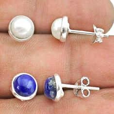 5.08cts natural white pearl lapis lazuli silver 2 pair studs earrings t50883