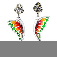 4.46cts natural white pearl marcasite enamel silver butterfly earrings c26106