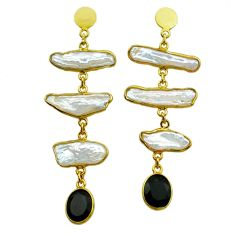 18.70cts natural white pearl onyx 925 silver 14k gold dangle earrings t44074