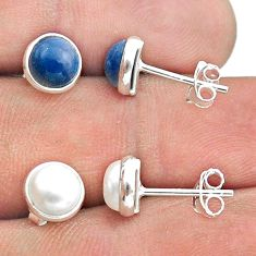 4.60cts natural white pearl owyhee opal 925 silver 2 pair studs earrings t50838
