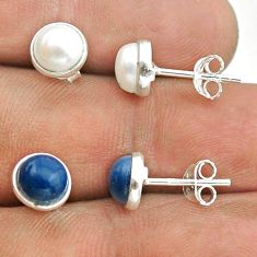 4.63cts natural white pearl owyhee opal 925 silver 2 pair studs earrings t50861