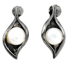 Natural white pearl rhodium 925 sterling silver dangle earrings jewelry c24158