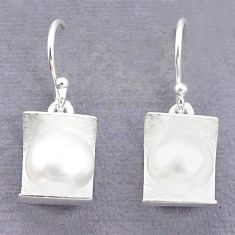 Natural white pearl round 925 sterling silver earrings jewelry c23746