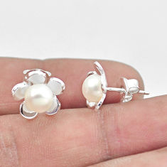 3.03cts natural white pearl round 925 sterling silver flower earrings c25648