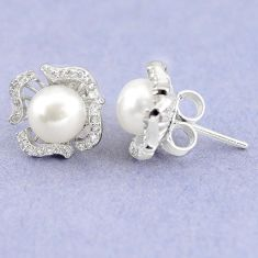 Natural white pearl round topaz 925 sterling silver stud earrings c22372