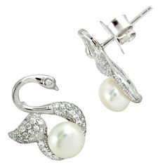 Natural white pearl round topaz 925 sterling silver stud earrings c25553