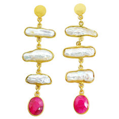 18.73cts natural white pearl ruby handmade14k gold dangle earrings t16563