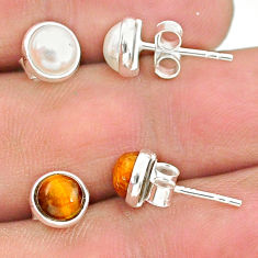 4.27cts natural white pearl tiger's eye 925 sterling silver stud earrings t23935