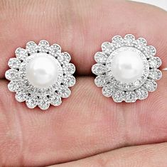 5.84cts natural white pearl topaz 925 sterling silver dangle earrings c25602