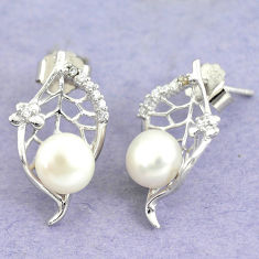 6.82cts natural white pearl topaz 925 sterling silver stud earrings c25614