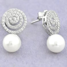 Natural white pearl topaz 925 sterling silver dangle earrings jewelry c25451