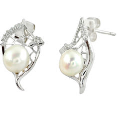 Natural white pearl topaz 925 sterling silver stud earrings jewelry c25502