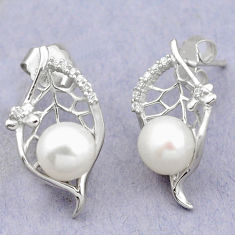 Natural white pearl topaz 925 sterling silver stud earrings jewelry c25518