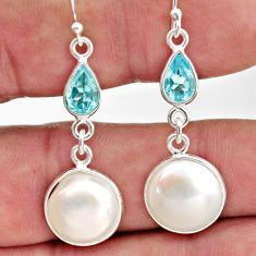 11.66cts natural white pearl topaz 925 sterling silver dangle earrings r35981