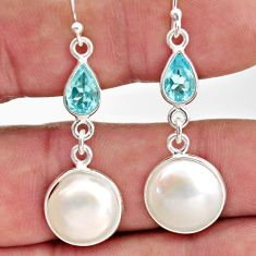 13.60cts natural white pearl topaz 925 sterling silver dangle earrings r35983