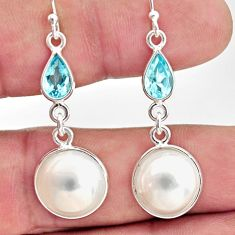 12.96cts natural white pearl topaz 925 sterling silver dangle earrings r35994