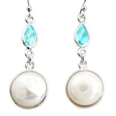 12.32cts natural white pearl topaz 925 sterling silver dangle earrings r36501