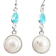 10.70cts natural white pearl topaz 925 sterling silver dangle earrings r36502