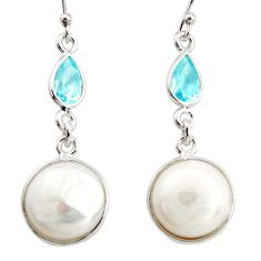 12.35cts natural white pearl topaz 925 sterling silver dangle earrings r36503