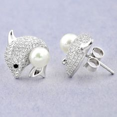 Natural white pearl topaz 925 sterling silver fish earrings jewelry c25041