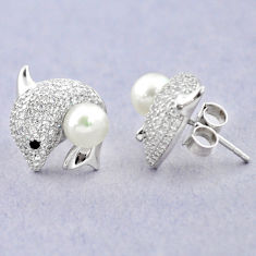 Natural white pearl topaz 925 sterling silver fish earrings jewelry c25051