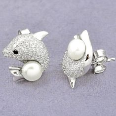 Natural white pearl topaz 925 sterling silver fish earrings jewelry c25532