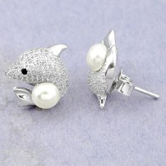 Natural white pearl topaz 925 sterling silver fish earrings jewelry c25533