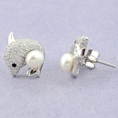 Natural white pearl topaz 925 sterling silver fish earrings jewelry c25540