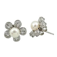 7.50cts natural white pearl topaz 925 sterling silver flower earrings c26374