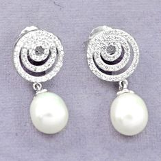 Natural white pearl topaz 925 sterling silver stud earrings a83632 c24559