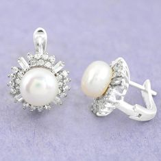 11.66cts natural white pearl topaz 925 sterling silver stud earrings c25513