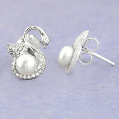 4.53cts natural white pearl topaz 925 sterling silver stud earrings c25548