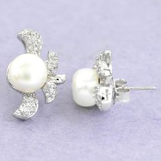 14.45cts natural white pearl topaz 925 sterling silver stud earrings c25601