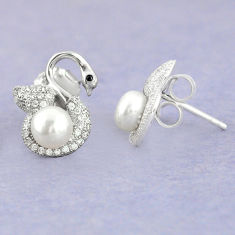 6.26cts natural white pearl topaz 925 sterling silver stud earrings c25604
