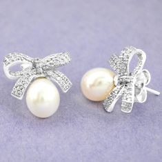 10.19cts natural white pearl topaz 925 sterling silver stud earrings c25605