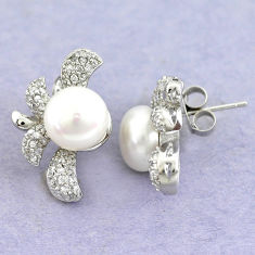 15.64cts natural white pearl topaz 925 sterling silver stud earrings c25606