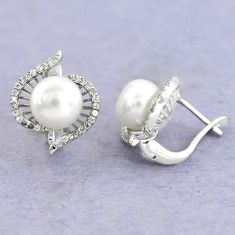 11.66cts natural white pearl topaz 925 sterling silver stud earrings c25607