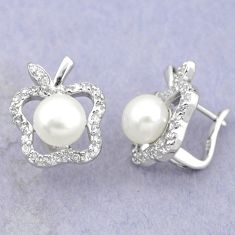 Natural white pearl topaz 925 sterling silver stud earrings c25609