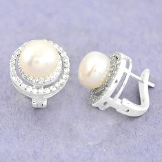 8.45cts natural white pearl topaz 925 sterling silver stud earrings c25610