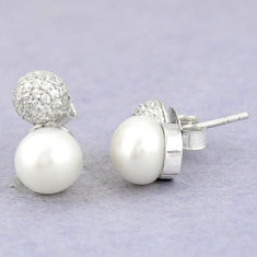 Natural white pearl topaz 925 sterling silver stud earrings c25633