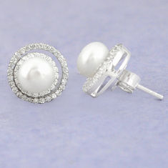 Natural white pearl topaz 925 sterling silver stud earrings c25700