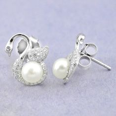 Natural white pearl topaz 925 sterling silver stud earrings jewelry c25042