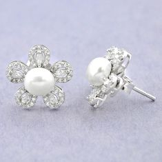Natural white pearl topaz 925 sterling silver stud earrings jewelry c25046