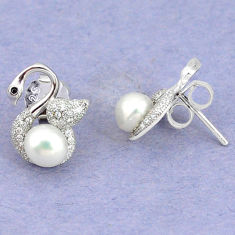 Natural white pearl topaz 925 sterling silver stud earrings jewelry c25441