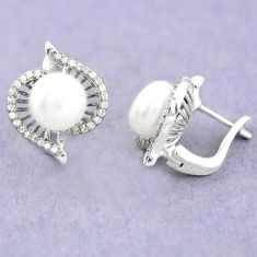 Natural white pearl topaz 925 sterling silver stud earrings jewelry c25442