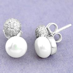 Natural white pearl topaz 925 sterling silver stud earrings jewelry c25443