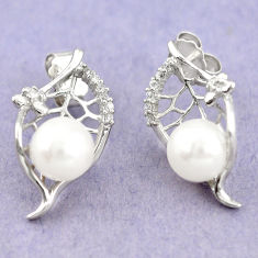 Natural white pearl topaz 925 sterling silver stud earrings jewelry c25447