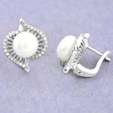 Natural white pearl topaz 925 sterling silver stud earrings jewelry c25448